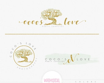 Simple Big Tree - Premade Photography Logo and Watermark, Classic Elegant Script Font GOLD GLITTER TREE childrenCalligraphy Logo
