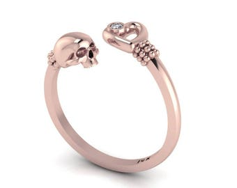 Rose Gold Skull Heart Diamond Ring Eternal Love Gothic Stacking Ring Black Diamond Heart Ring Skull Jewelry