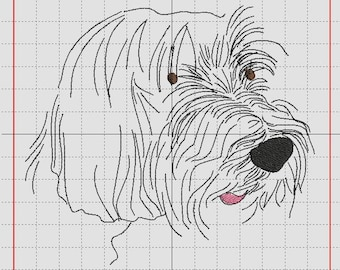 a dog Bearded Collie embroidery design, redwork