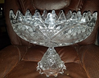 Vintage Clear Glass Fruit Bowl W/Pedestal