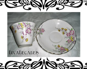 vintage Colclough china , teacup and saucer , vintage china teacup , floral teacup , vintage teacup , Colclough china , multi coloured cup