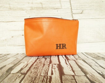 small leather pouch, personalized toiletry bag, makeup, zippered pouch, orange, nail polish bag, cosmetic set, pencil case, everyday,wedding