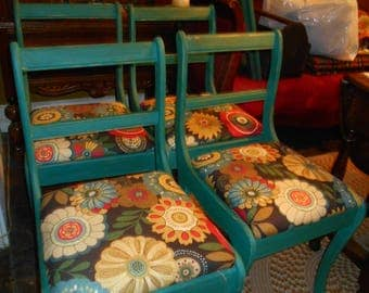 Lovely set of Four Vintage Chairs in Distressed Renfrew Blue