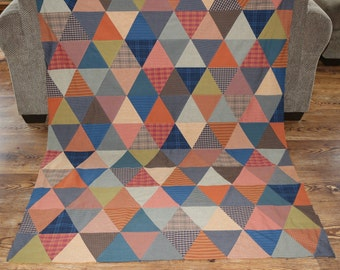Homespun Pyramid Triangle Quilt Top