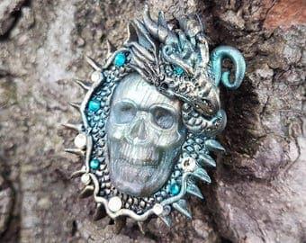 Labradorite Skull Dragon Guardian