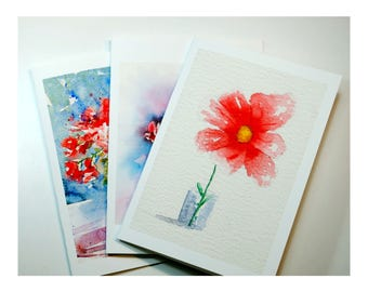 Set of three greeting card flower greeting card floral still life card watercolors anniversary birthday wedding celebrating cards