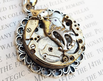 Steampunk Cat Necklace Pendant -Watch Part Necklace- Cats Necklaces Gifts for Steampunk Lovin