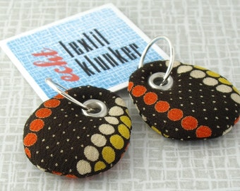 brown and dotted fabric earrings