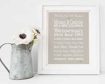 Personalised wedding gift - tied the knot print - 1st anniversary gift - personalised anniversary art - paper wedding anniversary