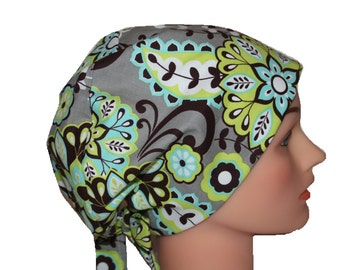 Scrub Hat Surgical Scrub Cap SATIN LINED Chemo Vet Nurse Chef Hat European Pixie Style Grey Lime Teal Paisley 2nd Item Ships FREE