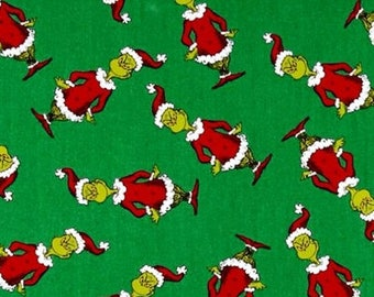 Dr. Seuss Grinch Christmas Collection - Green Grinchmas by Robert Kaufman 100% Quality Cotton Yardage