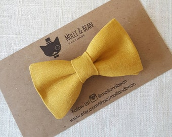 FREE U.S SHIPPING...Baby Bow Tie, Toddler Bow Tie, Boys Bow Tie, Mustard Boys Bow Tie, Ring Bearer Bow Tie, Wedding, Men's Mustard Bow Tie