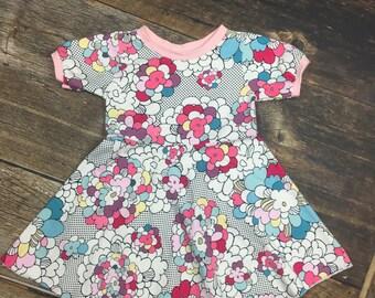 Pop Art Twirl Dress~ Floral Circle Dress
