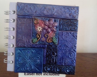 Blue polymer clay mosaic spiral bound notebook