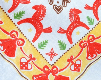 Vintage Swedish Dala Horse Christmas festival tablecloth with stars, hearts, bells and Dala horses