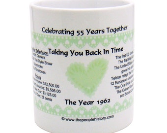 1962 55th Anniversary Mug - Celebrating 55 Years Together