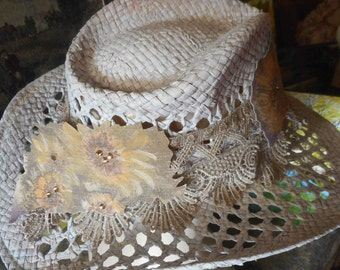 Western Style Summer Hat, Wide Brim Sun Hat, Ladies Summer Hat, Neutral Colors, Summer Wear, Summer