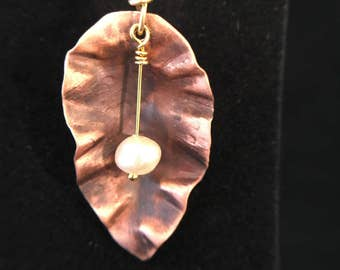 Pendant - Hand Forged Copper Leaf Pendant with Genuine Freshwater Pearl - FREE SHIPPING!!