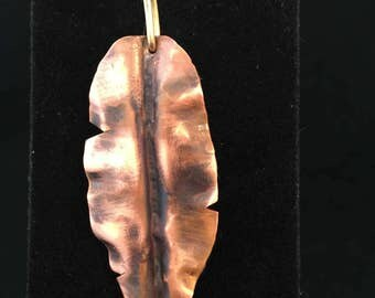 Pendant - Copper Leaf Pendant with Brass Wire Wrapped Bail - FREE SHIPPING