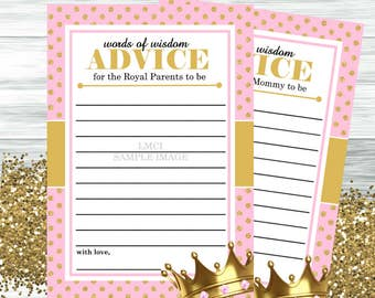Royal Princess Baby Shower Advice Card, Instant Download  - Digital File