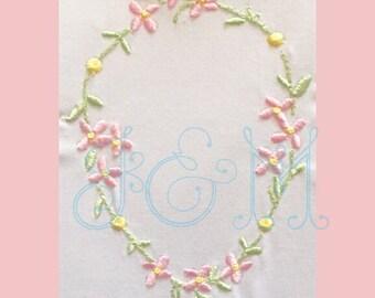 Floral Wreath Embroidery Design Vintage Outline Embroidery Design