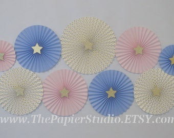 Twinkle Twinkle Little Star, Pink,Blue and Gold Set of 9 (NINE) Paper Rosettes