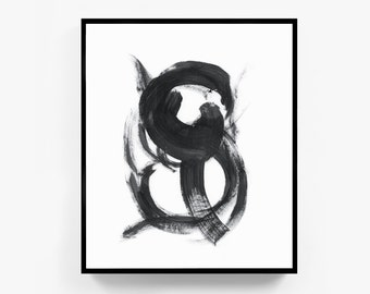 Minimalist Print, Abstract Art, Abstract Print, Large Wall Art, Black and White Wall Art, Black and White Print, Ink Art, Brushstroke, Frame