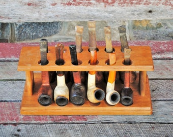 12 Pipe Rack with 12 Different Tobacco Pipes