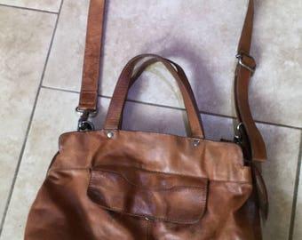 Western Style Soft Vintage Cowhide Messenger Bag, Handbag, case