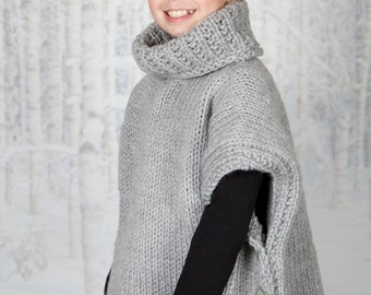 Knit pullover, poncho Child knit pullover, child knit poncho, bulky knit pullover, bulky knit poncho