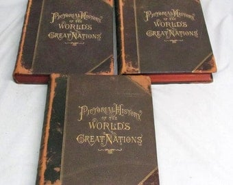 Antique Pictorial History of The World's Great Nations Vol. I, II, III 1882