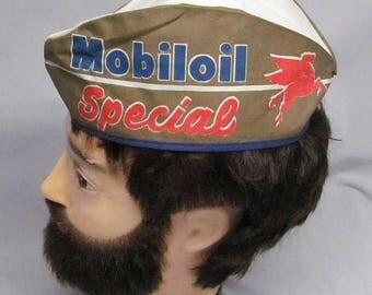 Rare Vintage MOBILOIL Pegasus Gas Station Attendants Cap Mechanics Advertising