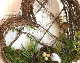 READY TO SHIP-Heart Shaped Moss Wreath-Bird's Nest Wreath-Nature Centerpiece-Preserved Moss Centerpiece-Bluebird Wreath-Moss Garden
