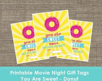 Printable Movie Night Gift Tags - You Are Sweet - DIY - The Studio Barn