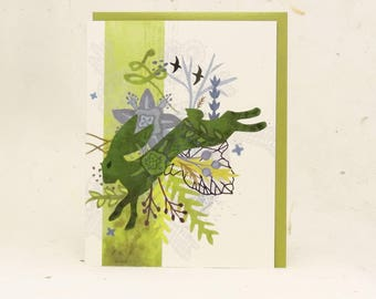 Spring Green Hare Eco-Friendly Greeting Card