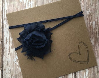 MINI Navy Blue Shabby Flower Headband