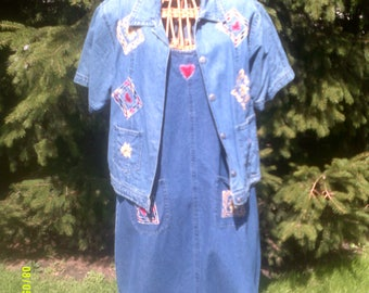 Vintage Embroidered Denim Maxi Jumper Dress with Matching Jacket, size Large (12 to 16), by Agope, Denim Maxi Dress, Denim Jumper