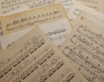 80 large ONE-SIDED pages of vintage sheet music and songbooks, scrapbooking, paper crafts, paper craft supplies, old music, old paper