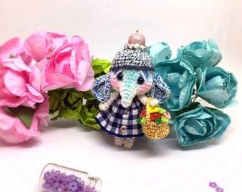 Micro Amigurumi Elephant - collectible crochet miniature ooak