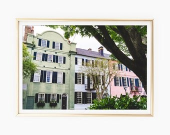 Charleston Prints Download, Rainbow Row, Charleston SC, Charleston Art Print, South Carolina Art, Travel Photography, Travel Poster Art