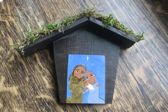 Manger Nativity icon print on wood byzantine/ folk style