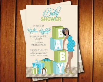 Blocks Baby Shower Invitations - Boy Baby Shower Invites African American