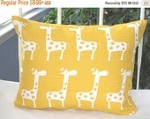 CLEARANCE Pillow Cover, Pillow, Baby, Nursery, Yellow, Giraffe, Decorative Pillow, Yellow Giraffe Pillow, Lumbar Pillow