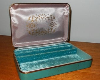 Vintage Turquoise Farrington Jewelry Box with Gold Accents and Pink and Turquoise Lining
