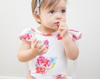 Fluttersleeve Floral Leotard for Babies and Toddlers