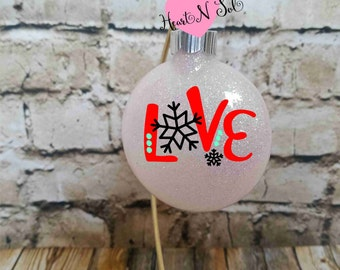 Love, Love Snowflake, Snowman, Glitter Ornament, Ornament for kids, Christmas gift