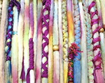 Dreadlock set of 21 Wool Dreads Accent Dreads Ready to Ship Tye Dye Single Ended Dreads