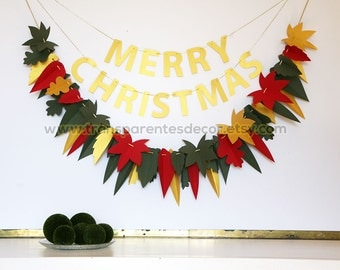 Christmas Garland, Green Red Gold garland, Christmas decorations, Leaf garland, Antique Gold decor, Christmas decor, Green Red Leaf, KH-5311