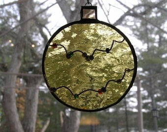 3 Stained Glass Christmas Balls, Christmas Decor, Tree Ornaments