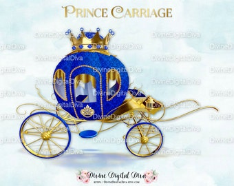 Little Prince Carriage Coach Royal Blue & Gold | Clipart Instant Download